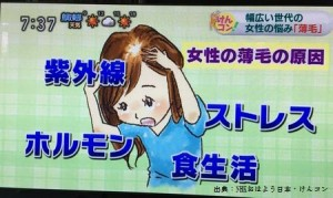 NKHけんコンで女性の薄毛の原因と薄毛対策を紹介