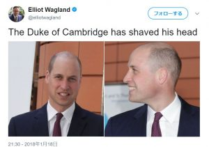 薄毛より坊主頭が似合うウイリアム王子